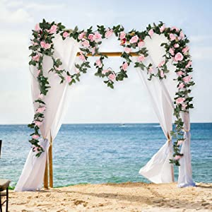 decorate wedding arch with rose vines