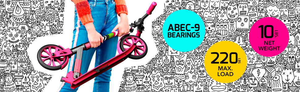 ABEC-9 bearings, 220lb capacity, and only weighs 10 pounds