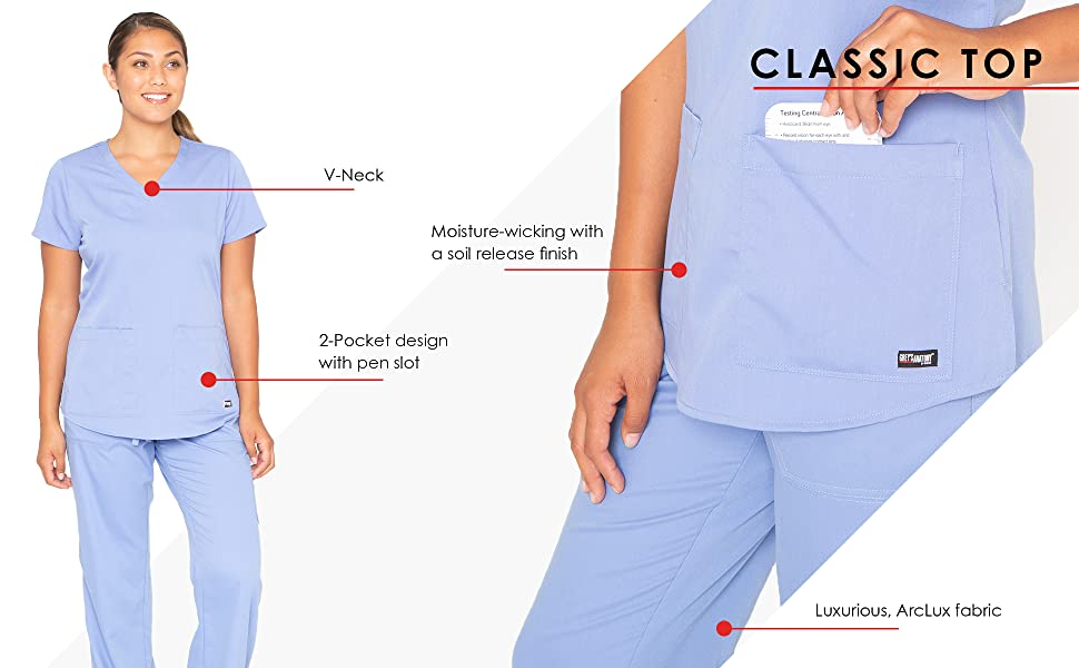 close up of barco 71166 classic top featuring pocket detail and arc lux fabric information