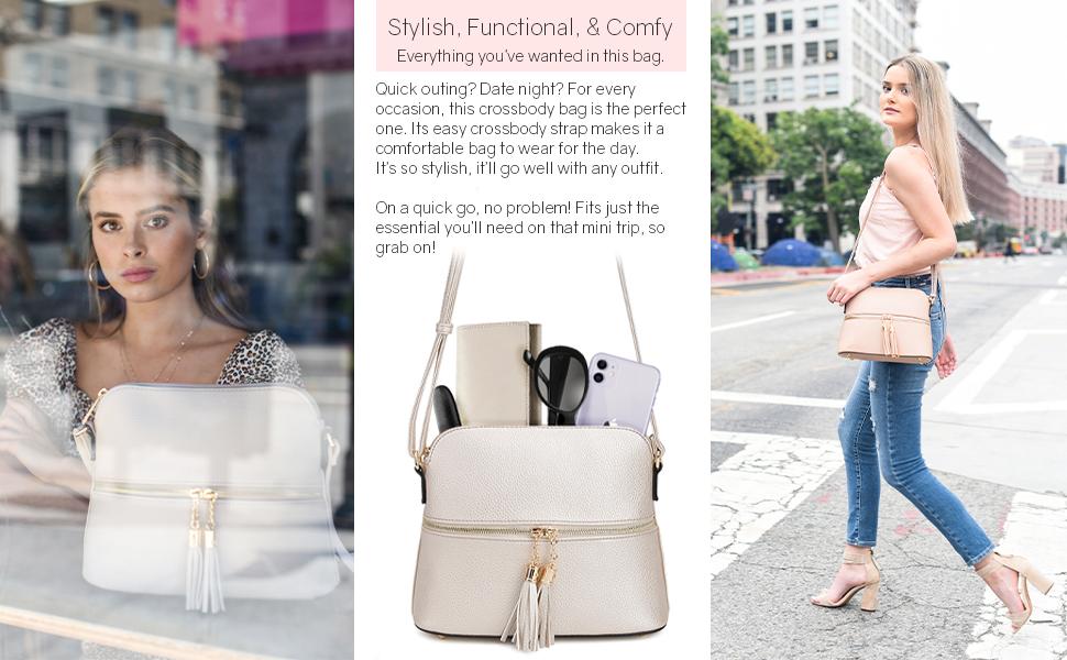 sugu crossbody bag model and product image