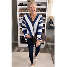 Long Sleeve Striped Color Block Knitted Sweater
