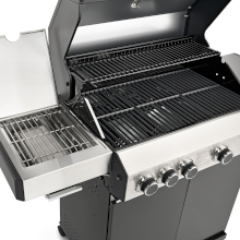 taino black 4+1 gas-grill sear-zone sizzle led guss-eisen grill-roste gas-flaschen-halterung