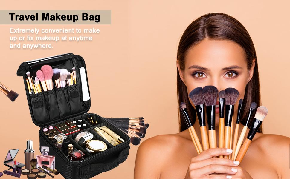 Travel Makeup Bag Portable Train Cosmetic Case Organizer travel makeup case, large makeup case