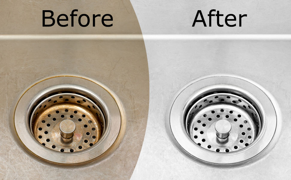 before and after stainless steel cleaning
