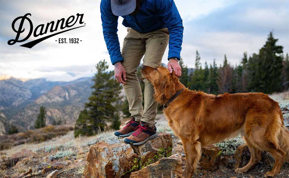Man on trail with pet dog