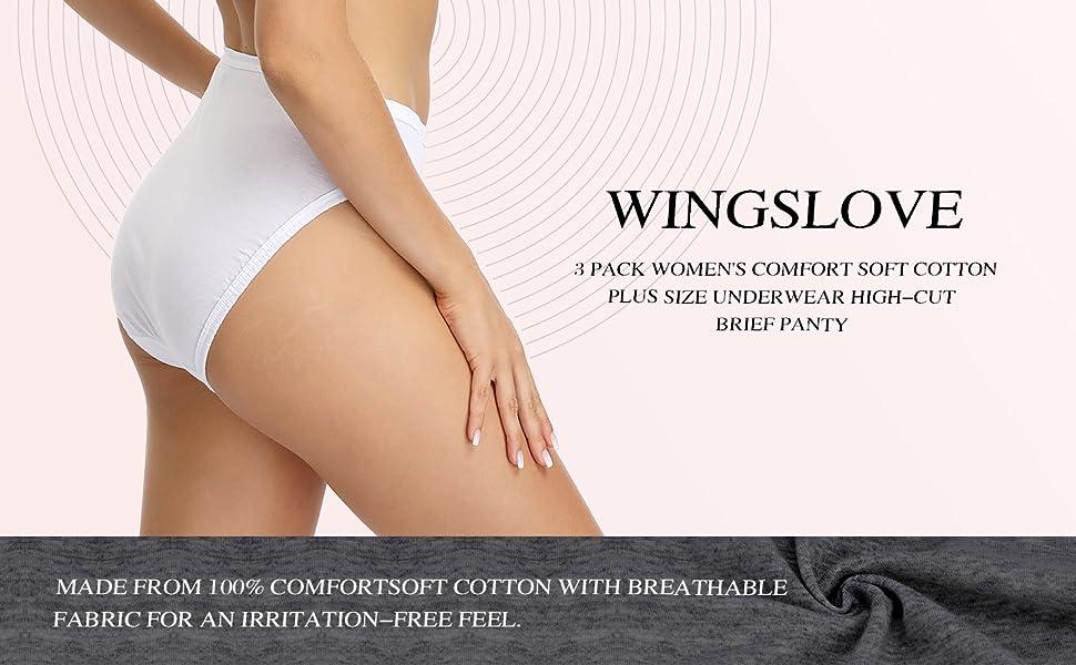 Wingslove 3 Pack Women's Comfort Soft Cotton Plus Size Underwear High-Cut Brief Panty