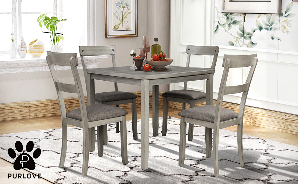 Amazon.com - P PURLOVE 5 Piece Dining Table Set Industrial Wood Kitchen Table And 4 Padded Chairs 5 Piece Dining Room Set For Small Place/Kitchen Dining Room, Light Gray - Table & Chair Sets