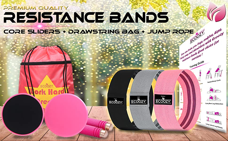 Resistance Bands with String Gym Bag, Core Sliders and Jump Rope