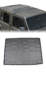 Sunshade Mesh Shade Top Cover Polyester Durable Sun Shade for Jeep Wrangler JL JLU 4 door Black