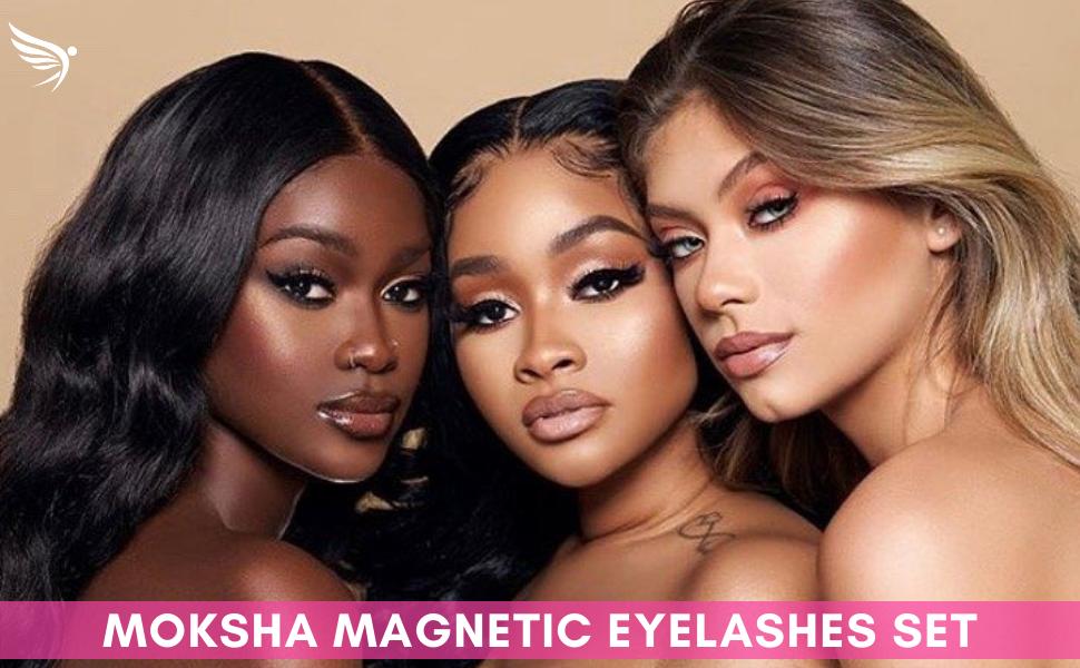 moksha beauty magnetic eyelashes and magnetic eyeliner set party make up removers eye lash set