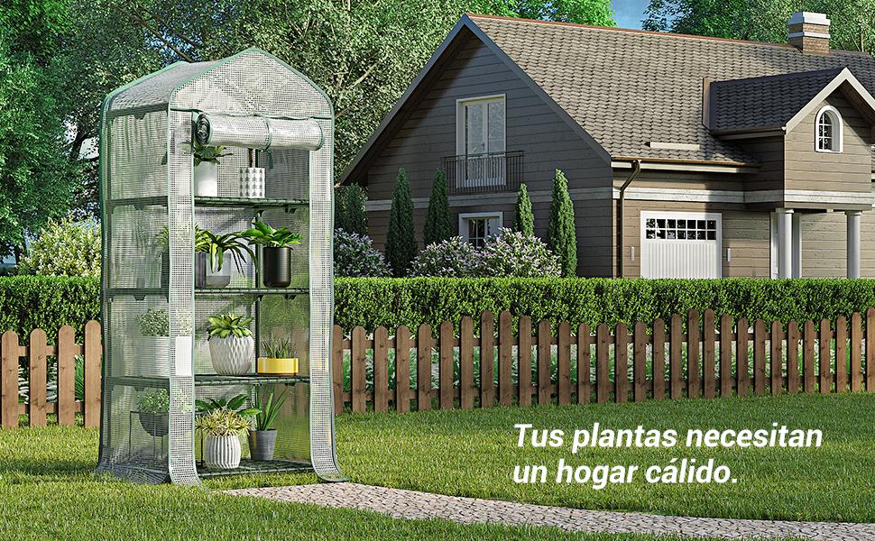 SONGMICS Invernadero para Jardín, Terraza, Caseta con 4 Estantes ...