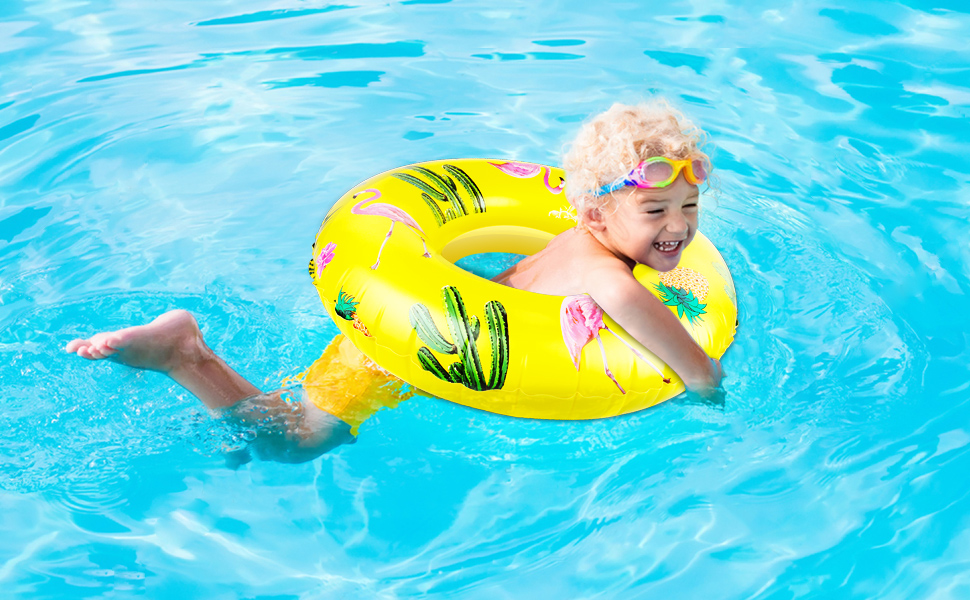 120cm Diameter Heart Shaped Summer Swimming Pool Float Ring Inflatable Pool Float Loungers Tube Summer Water Fun Beach Pool Party Toys for Kids Adults MoKo Inflatable Swim Rings
