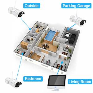 auto pair wifi security camera system 1080p