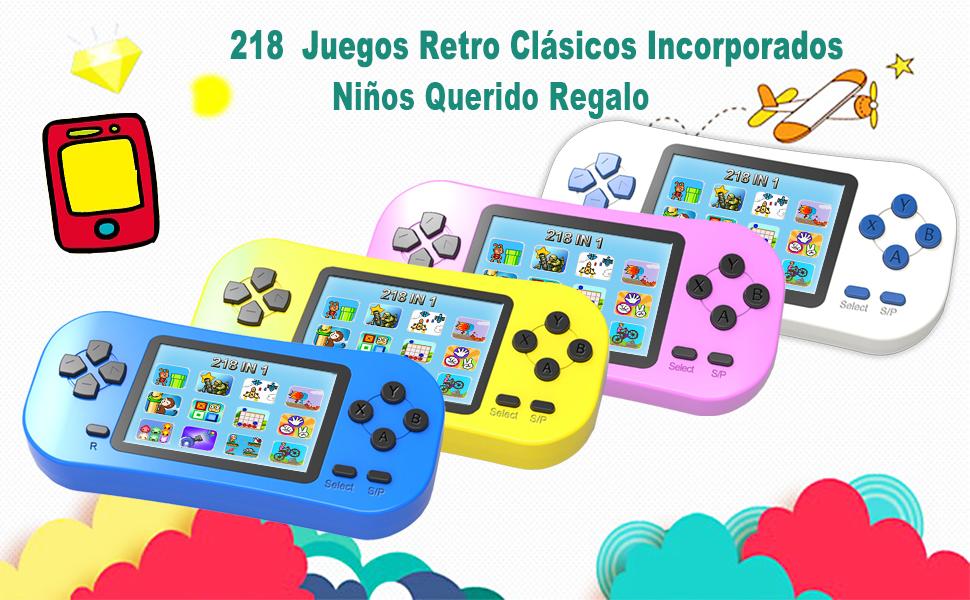 ZHISHAN Consola de Juegos Portátil Retro para Niños Precargado con 218 Videojuegos Clásicos Sistema de Juego Arcade Recargable y con Pantalla de 2.5 ...