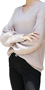 Grey V-neck Pullover Sweater