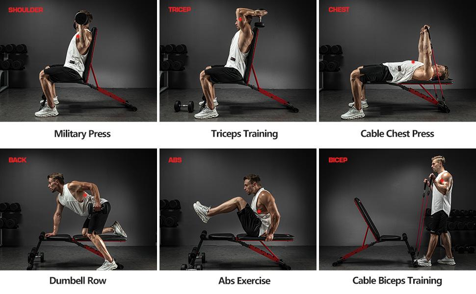 pelpo weight bench, Workout options