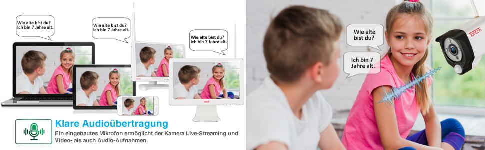 Frengriff via APP Android//IOS 25M Nachsicht Tonton 8CH Full HD 1080P Outdoor Audio Video /Überwachungsset mit 6 Full HD 1920TVL Tag Nacht 1080P /Überwachungskamera mit Ton Aufnahme Bewegungsmelder