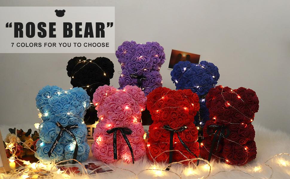 Rose Teddy Bear, Rose Bear Teddy Bear,Flower Bears with Lights,Forever Rose Bear