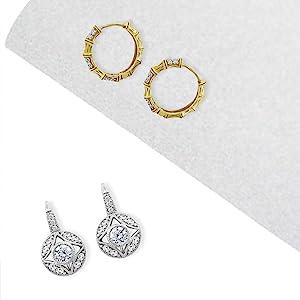 vintage earrings, hoop earrings, cubic zirconia earrings, cz earrings for women