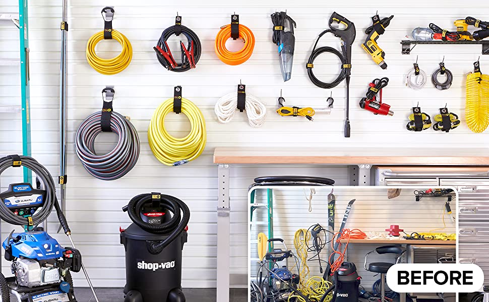 before and after of organized garage using wrap it storage straps for garage organization