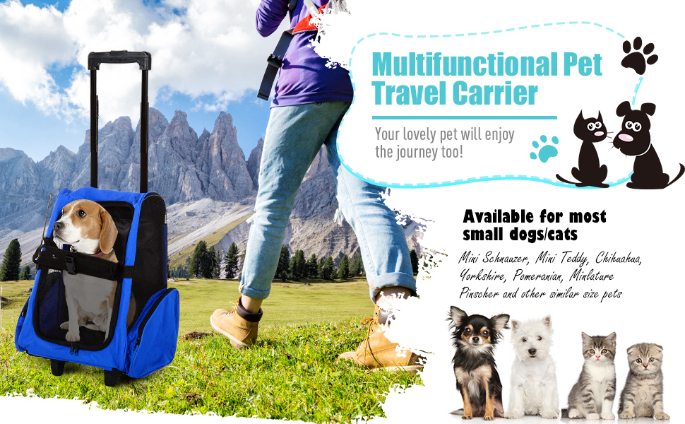 PawHut Pet Travel Backpack Bag Cat Puppy Dog Carrier w/ Trolley and Telescopic Handle