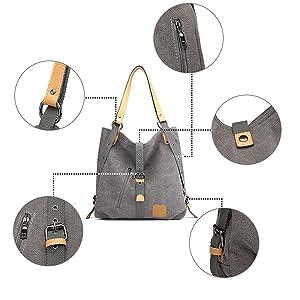 Kono Mochila de bandolera, bolsos de lona versátiles y multifuncionales para las mujeres niñas, elegantes bolsos cruzados, mochila duradera para ...