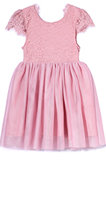 Toddler Floral Lace V-Backless Tutu Tulle Party Dresses