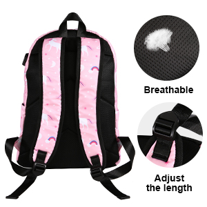 School Backpack Set for Girls Teens School Bag Bookbag Waterproof USB Charger Computer Compartment