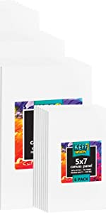 Paint Canvas Panels Set- 32 Multi Pack, Pre-Primed Art Canvases for Painting, 5x7, 8x10, 9x12, 11x14