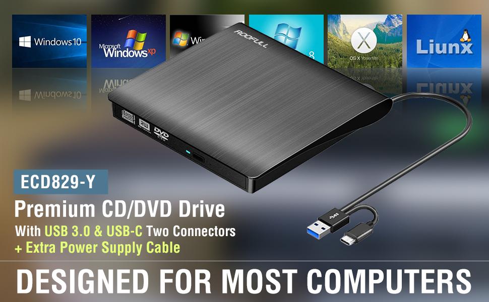 ROOFULL premium USB 3.0 and USB type-C external CD/ DVD RW Drive Burner Writer Reader