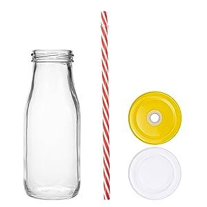 12 Pack Glass Milk Bottles, 11 oz Vintage Drinking Jar Bottles, Reusable Dairy Bottles with 12 Straw