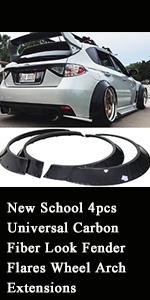 New School 4pcs Universal Carbon Fiber Look Fender Flares Wheel Arch Extensions Wide Body Set