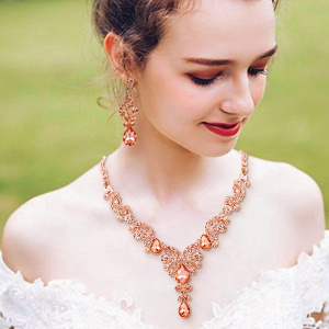crystal Teardrop bridal jewelry set for bridesmaids