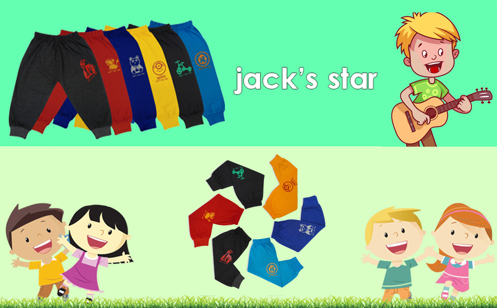 Jack's Star Soft Cotton Track Pants Lowers Pajama for Kids Infants & Toddler – Lowers/Joggers for Boys and Girls with Bottom Ribs- Set of 6