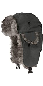 ushanka russian hat faux fur chin strap lined warm winter cold weather water resistant aviator warm