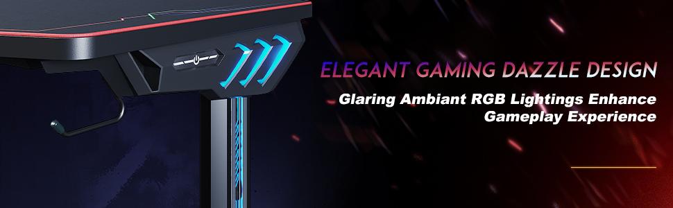 Gaming desk with led lights