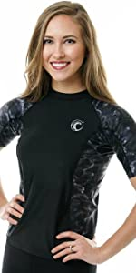 women swim rashguard shirt uv protection plus adult sun upf guard aqua short sleeve athletic running