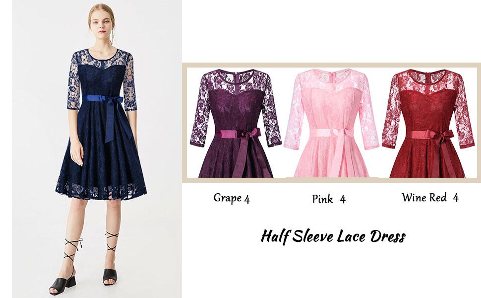 half sleeve lace dress