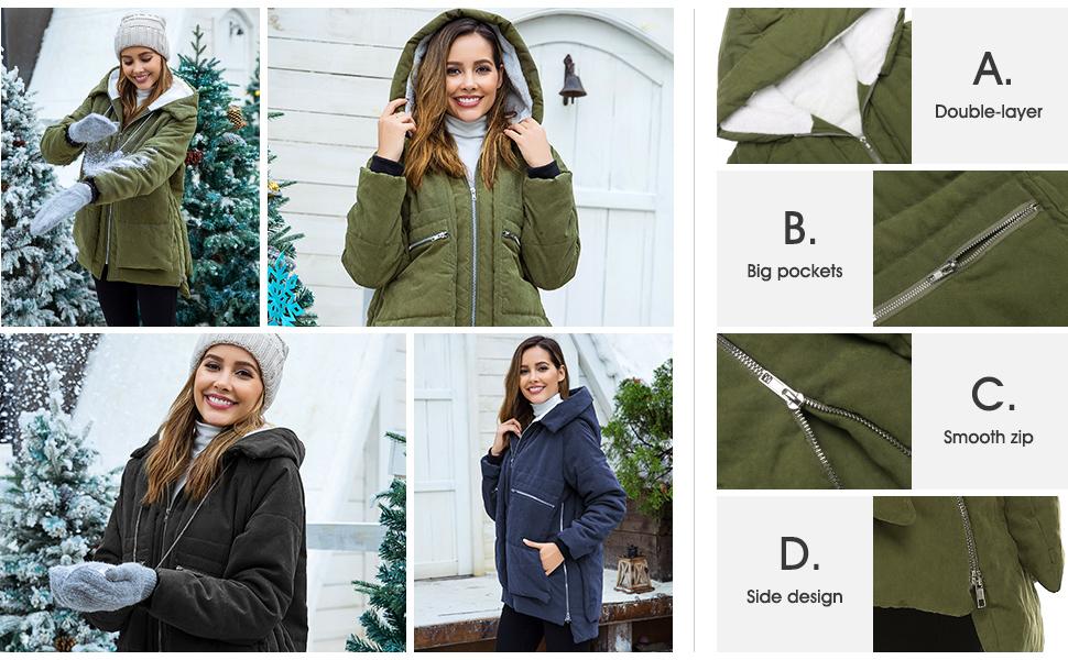 Women's Down Jacket Coat, Ladies Solid Casual Thicker Winter Outwear Slim Down Lammy Long Overcoat