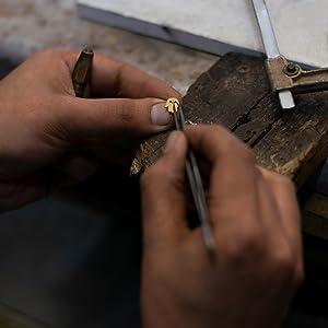 Man making jewellery