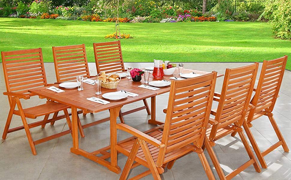 De madera Juego de muebles de jardín patio mesa de comedor y ...