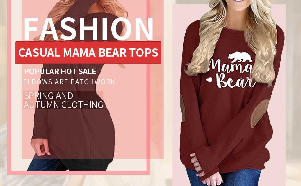 onlypuff Mama Bear Shirts Casual Tunic Tops with Patchwork Long Sleeve