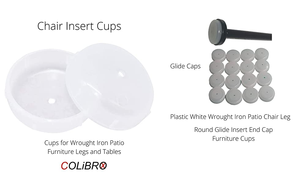 4 1.5 Deluxe Wrought Iron Patio Furniture Chair Leg Inserts Cups Glides Caps