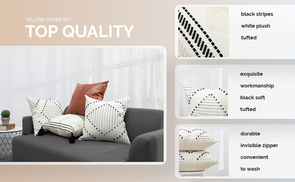 black white pillow cover neutral tribal cute accent bed travel cotton woven euro gothic chic