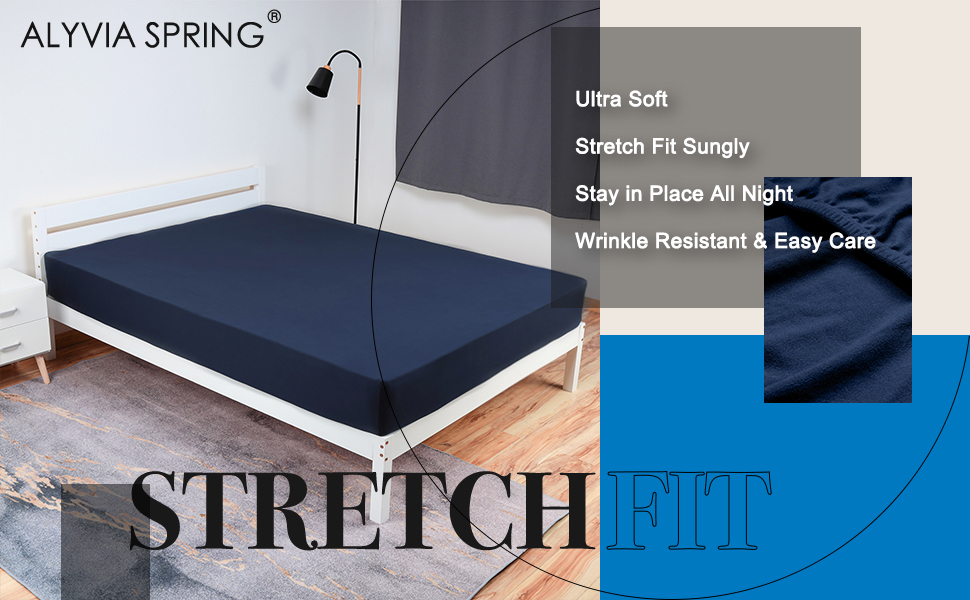 navy fitted sheet 4 way stretch jersey knit