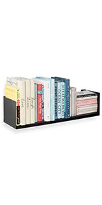 Wallniture Libro Floating Shelves U Shape Metal Wall Shelf Bookcase CDs DVDs Storage Black