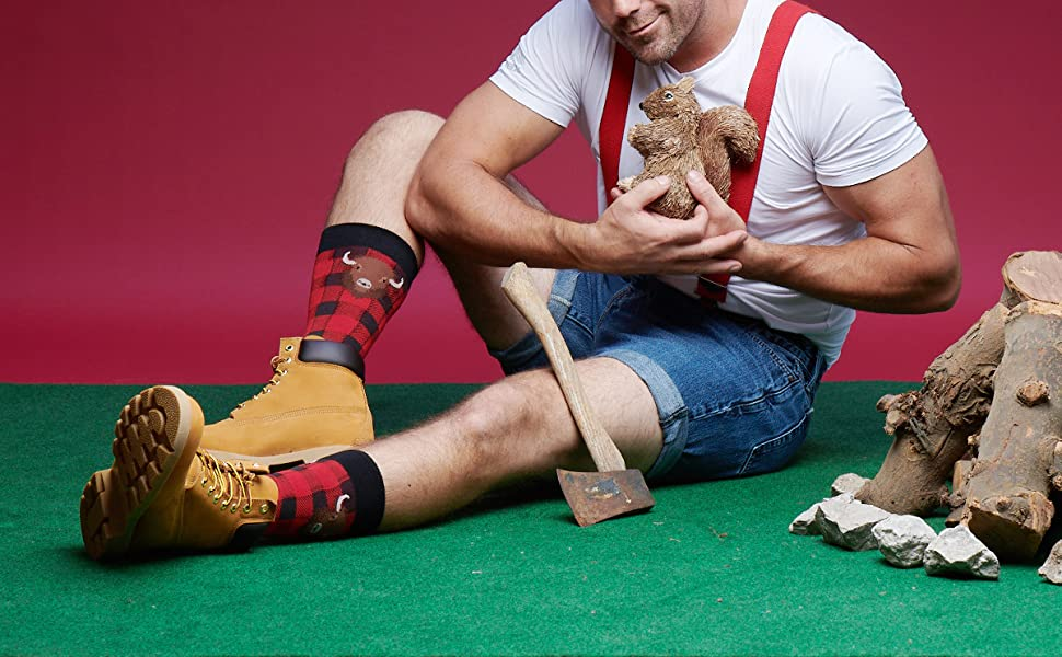 mens novelty funny fun socks outdoors buffalo plaid bison camping dad present gift ideas