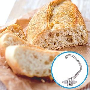 dough, hook, bread, kneading, metal, steel, rolls, pastry, shortcrust, puff, filo, sourdough, tiger