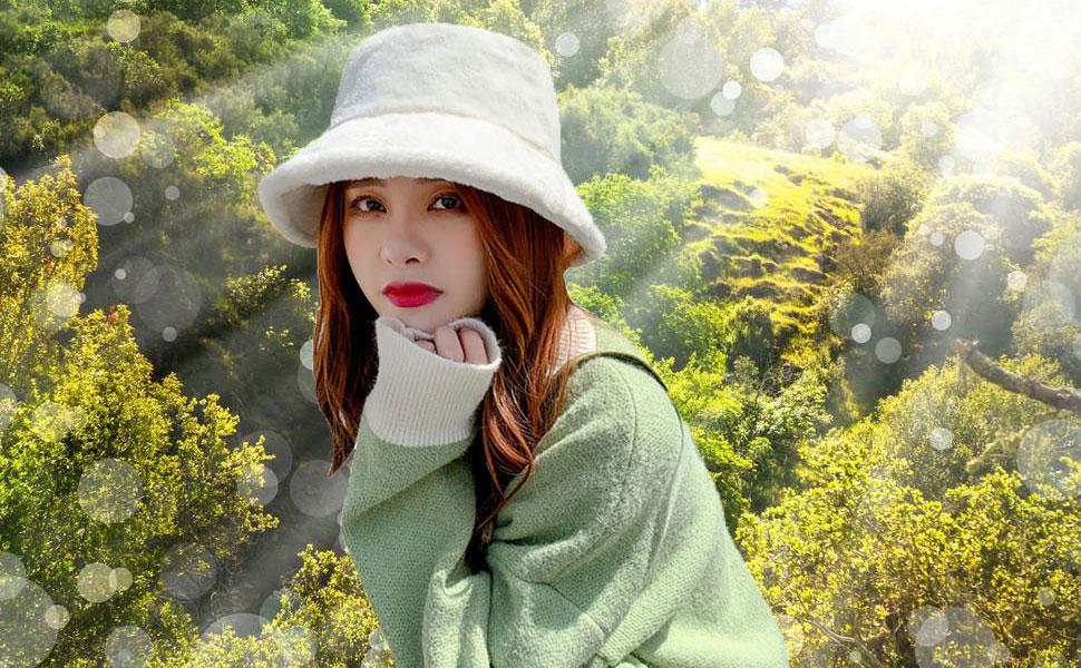 Spring Starinee Women's Cute Fall Winter Fashion Warm Cozy Faux Fur Fisherman Bucket Hat Cap