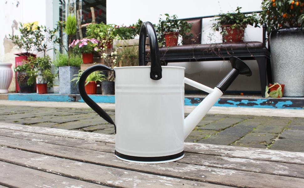 Cesun Regadera de metal para jard/ín 3,8 L//1 Gal, color negro y naranja de acero galvanizado para exteriores con recubrimiento de polvo con rosa extra/íble para plantas de jard/ín
